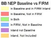 Key to floodplain FIRM discrepancies with BBNEP baseline floodplain.