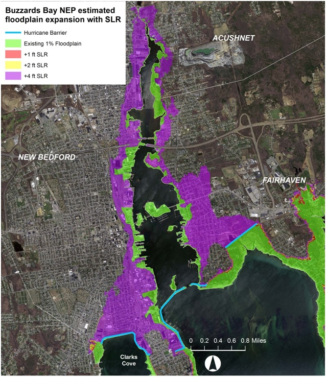 Expansion of the New Bedford Harbor floodplain with sea level rise.